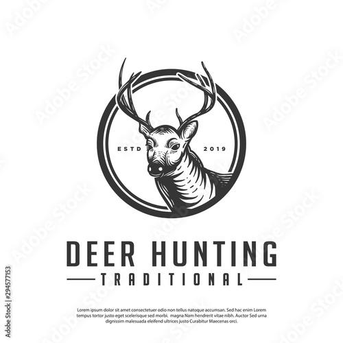 vector logo of vintage hipster deer