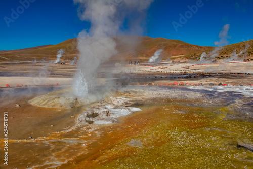 Detailed view of El Tatio geyser in Atacama