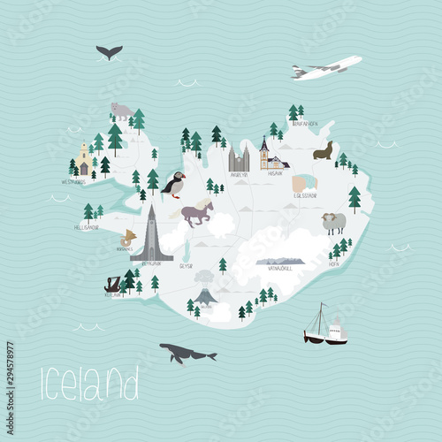Cartoon map of Iceland Canvas Print