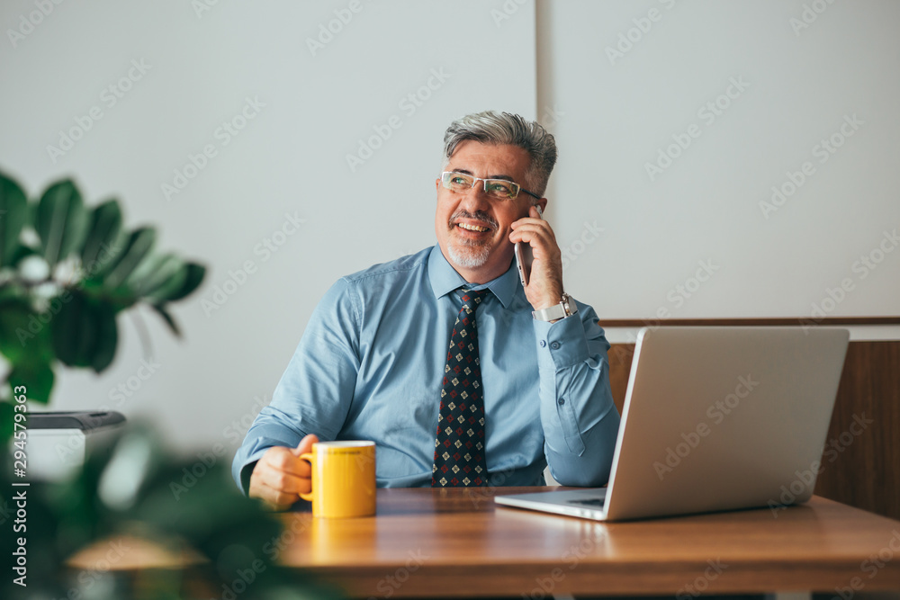 Fototapeta senior manager talking on mobile phone while sitting desk in his office