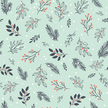 Winter Leaves, Branches And Snow Vector Pattern. Seamless Floral Background With Winter Branches And Leaves. Hand Drawn Floral Elements. Vintage Botanical Illustrations.