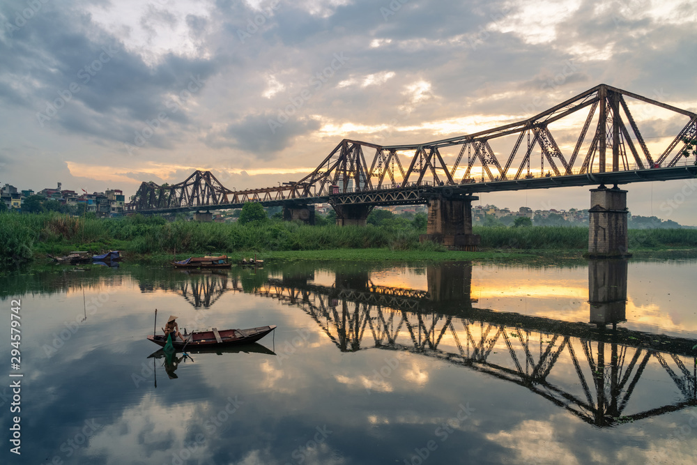 The Long Bien railway bridge crossing the Red River in Hanoi