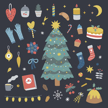 Christmas Tree Decorations And Sweet Food. Vector Festive Winter Illustrations On Dark Background. Cozy Hygge Elements