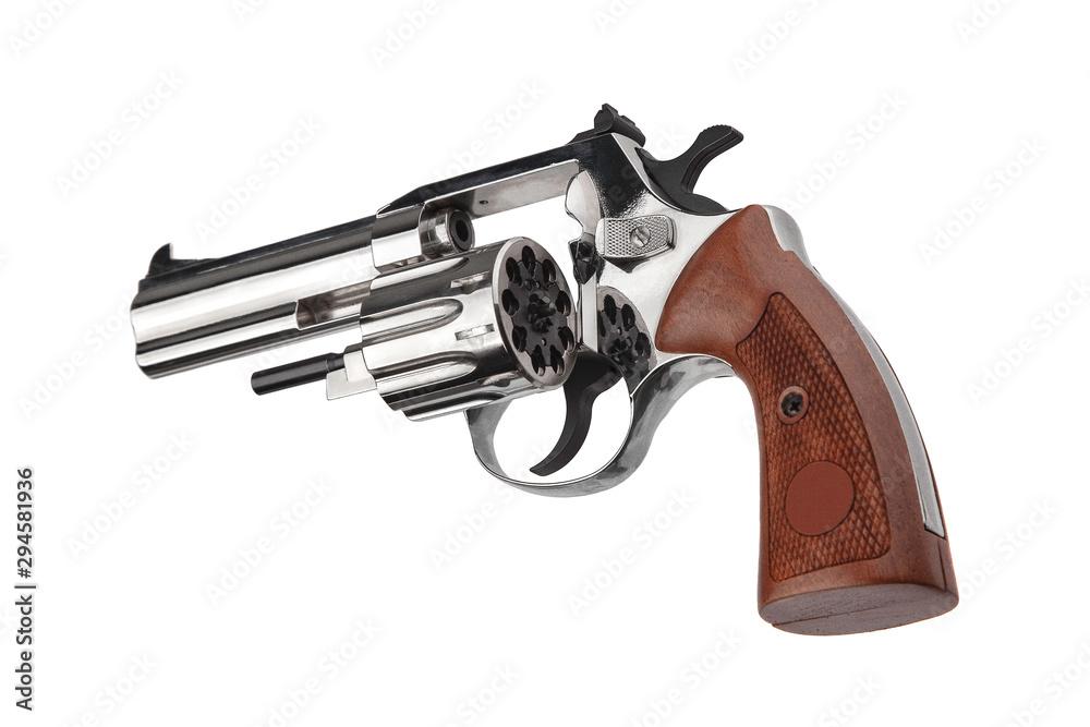 Fototapeta silver gun revolver isolate on white background.