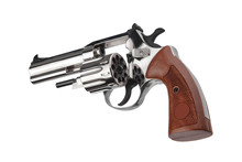 Silver Gun Revolver Isolate On...