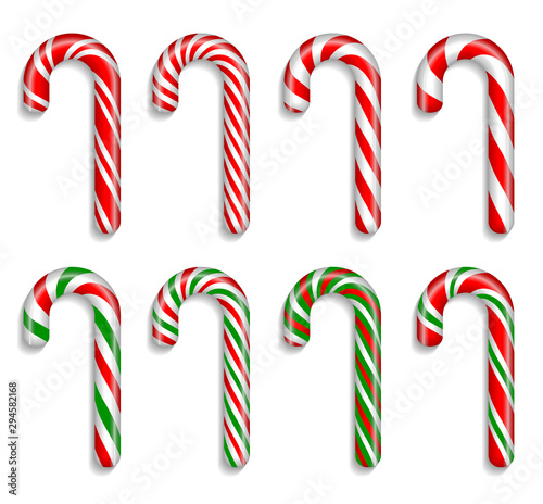 Set of traditional christmas candy canes on a white background. 3D vector. High detailed realistic illustration