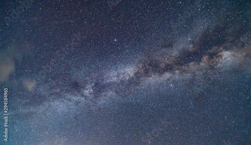 Close up of the milky way with bright stars on blue sky at night. Natural universe space landscape background. It is the galaxy that contains our Solar System