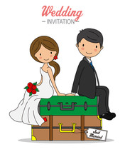 Wedding Card. Bride And Groom Sitting On Top Of Travel Suitcases
