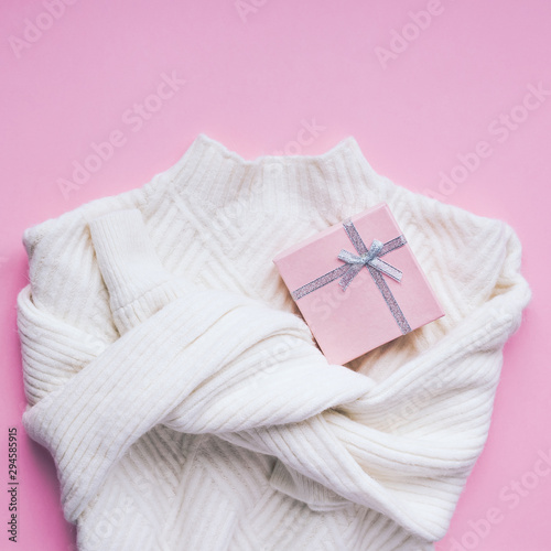 Valentine day composition with white sweater