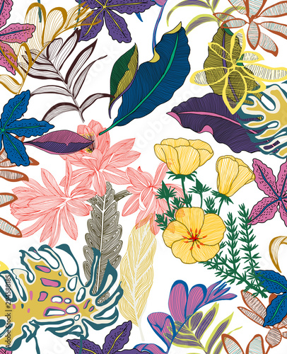 flowers pattern tropical art leaf fabric texture  - 294588185