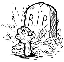 Cartoon Graphic Black And White Tomb Gravestone With Grass, Rising Zombie Hand And R.I.P Text. Isolated On White Background. Halloween Vector Icon.