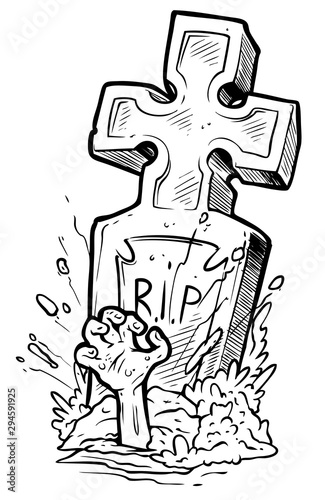 Cartoon graphic black and white tomb gravestone with cross, rising zombie hand and R Fototapete