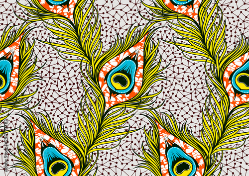 Peacock's tail seamless pattern, african fashion ornament in vibrant colours Canvas-taulu