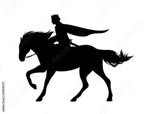 Obraz na plátně medieval fairy tale prince riding horse - fanatsy horseback hero black and white