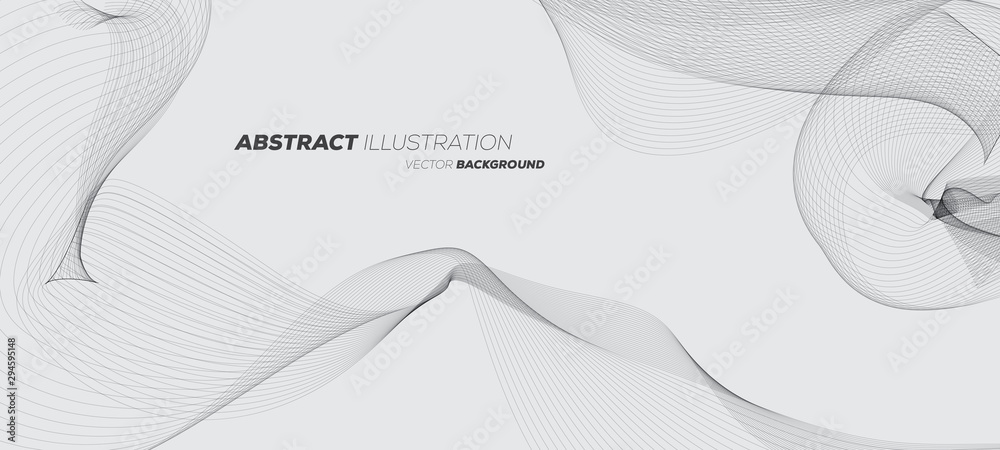 Fototapety, obrazy: Abstract geometric background with dynamic linear wave lines. Black and white vector design illustration.