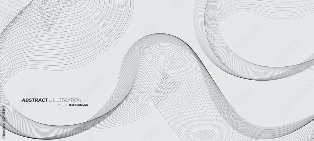 Fototapeta Abstract geometric background with dynamic linear wave lines. Black and white vector design illustration.