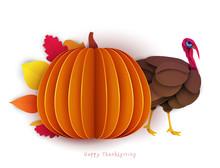 Big Pumpkin And Turkey In Pape...