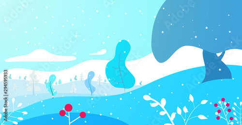 Foto auf Gartenposter Licht blau Winter panoramic landscape background with snow, trees and hills in flat colorful style. Cartoon vector horizontal illustration. Seasonal concept for design banner, card.