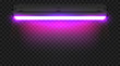 Realistic 3d ultraviolet long fluorescent light tube isolated on transparent background. Bright illuminated luminescence lamp. Vector illustration.