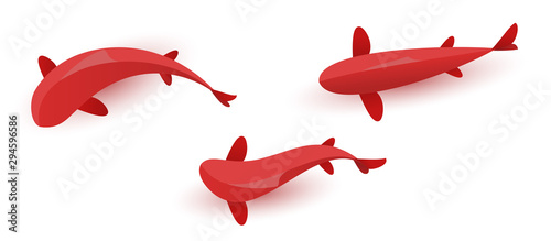 Stampa su Tela Set of red fish isolated on white background
