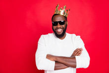 I Am Best. Portrait Of Confident Afro American Brown Hair Guy Cross Hands In Eyeglasses Arrogant Achieve Million Dollars Feel Successful Wear White King Style Jumper Isolated Red Color Background