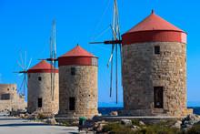 Symbol Of Rhodes - Three Windmills In Mandaki Bay