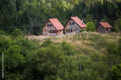 Fotografie, Obraz  Houses damaged by ground erosion on Tara mountain