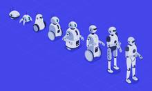 Isometric Evolution Of Robots. Progress In Robotics, Futuristic Robotic Machines And Robot Android Development. Engineering Android Cyborg Robots Tech Evolution 3D Vector Illustration