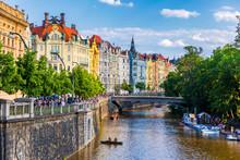 Scenic Embankment In Prague City; Historical Center Of Prague, Buildings And Landmarks Of Old Town, Prague, Czech Republic. Embankment Of The Vltava River In Prague, The Capital Of Czechia.
