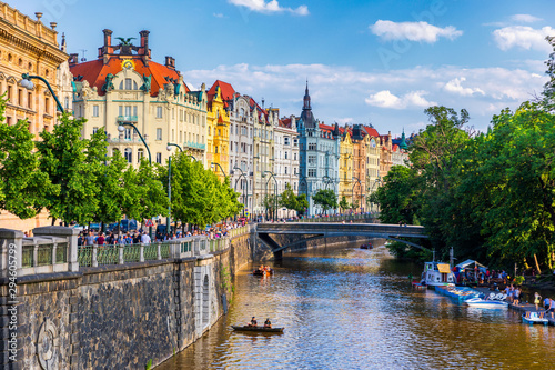 Canvas Print Scenic embankment in Prague city; Historical center of Prague, buildings and landmarks of old town, Prague, Czech Republic
