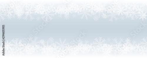 Cuadros en Lienzo winter christmas snowy border blue background vector illustration EPS10