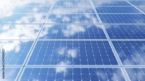 Obraz Solar panels. Alternative energy. Renewable energy concept. Ecological, clean energy. Photovoltaic solar panels, with reflection of a beautiful blue sky. Solar panels in the desert. 3D illustration - fototapety do salonu
