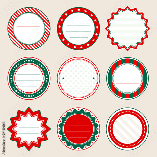 Set Runde Schilder Weihnachten Rot Und Grün Wallpaper Mural