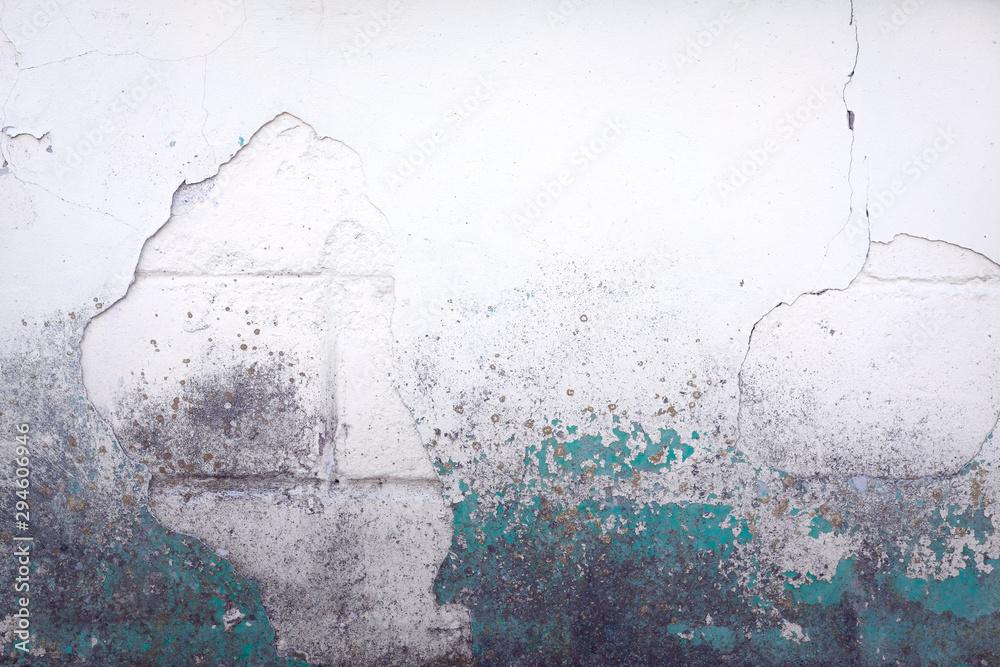 Stary biały zakurzony mur z pęknięciami i strukturą mchu, pokryty sztukaterią i zieloną farbą. Kolorowe tło <span>plik: #294606946 | autor: CrunchyBeans</span>