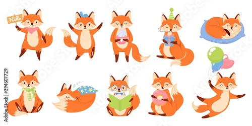 Cartoon fox mascot Canvas Print