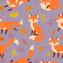 Seamless Foxes Pattern. Autumn Fox, Cute Orange Animal Poster. Golden Season Foxy With Leaf Greeting Card Pattern, Foxes Character Mascot Wallpaper Or Wrapping Cartoon Vector Illustration
