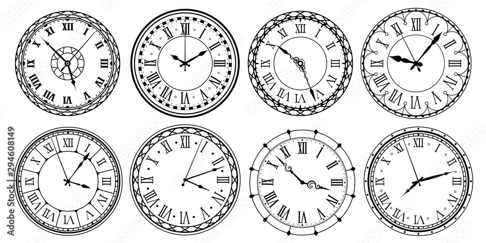 Fototapeta Vintage clock face. Retro clocks watchface with roman numerals, ornate watch and antic watches design. Antique elegant hour time clock. Isolated vector illustration icons set