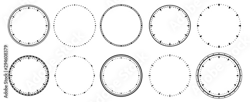 Obraz Clock faces. Vintage clocks bezel, seconds timer and 12 hours watch round scale. Clocks frames silhouette, deadline hour stopwatch face. Isolated vector symbols set - fototapety do salonu