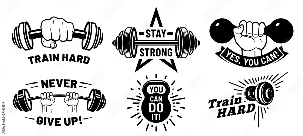 Fototapeta Gym motivation quotes. Fitness inspirational, strong bodybuilding and dumbbell in hand. Athletic exercise quotation, workout body sculpt inspire. Isolated vector illustration icons set