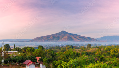 Montage in der Fensternische Rosa hell panoramic view of sunrise with clear sky on Mountain,Phu Luang District, Thailand