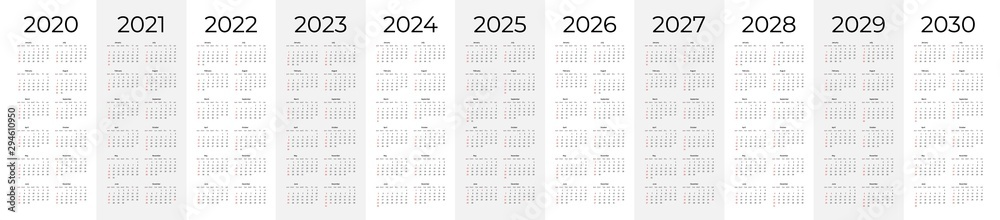 Fototapeta Calendar template set for 2020, 2021, 2022, 2023, 2024, 2025, 2026, 2027, 2028, 2029 and 2030 years. Week starts on Monday. Simple editable vertical vector calender