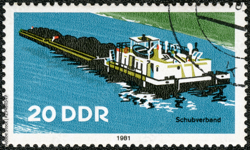GERMANY - 1981: shows Tugboat, River Boat, 1981 Poster Mural XXL