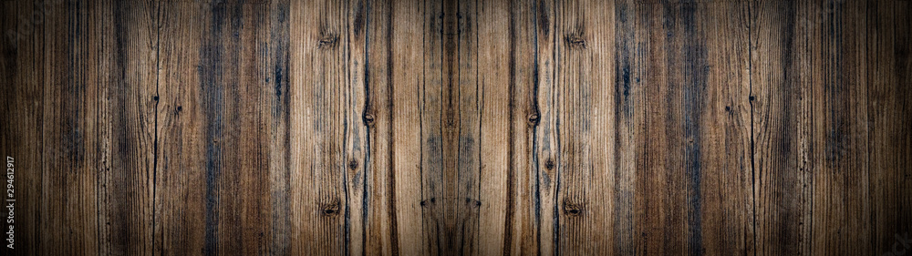 Fototapety, obrazy: old brown aged rustic wooden texture - wood background panorama banner long