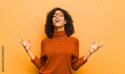 young pretty black woman performing opera or singing at a concert or show, feeli Canvas Print