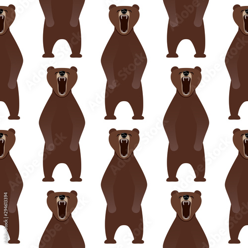 A seamless pattern with the image of a growling bear. Tapéta, Fotótapéta