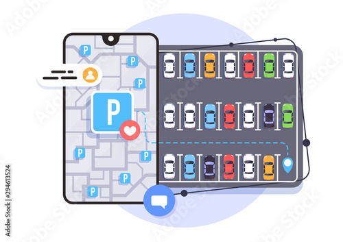 Stampa su Tela Online application for finding parking spaces, city parking, vector illustration