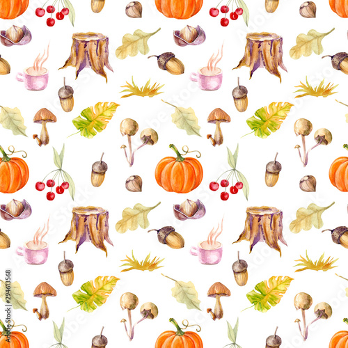 watercolor forest plants mushrooms, nuts, acorns, leaves on a white seamless background for use in design, children's textiles, wrapping paper, wallpaper, fashion