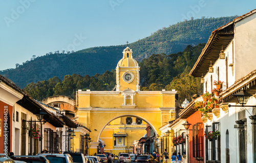 Arco de Santa Catalina and Volcan de Agua in Antigua Guatemala, Central America Wallpaper Mural