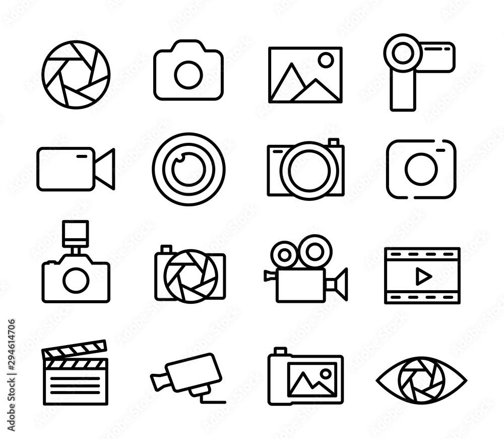 Fototapeta Photo and video set icons thin line. Photography icon. Photo camera icon. Diaphragm icon. Vector illustration.