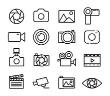 Photo And Video Set Icons Thin...